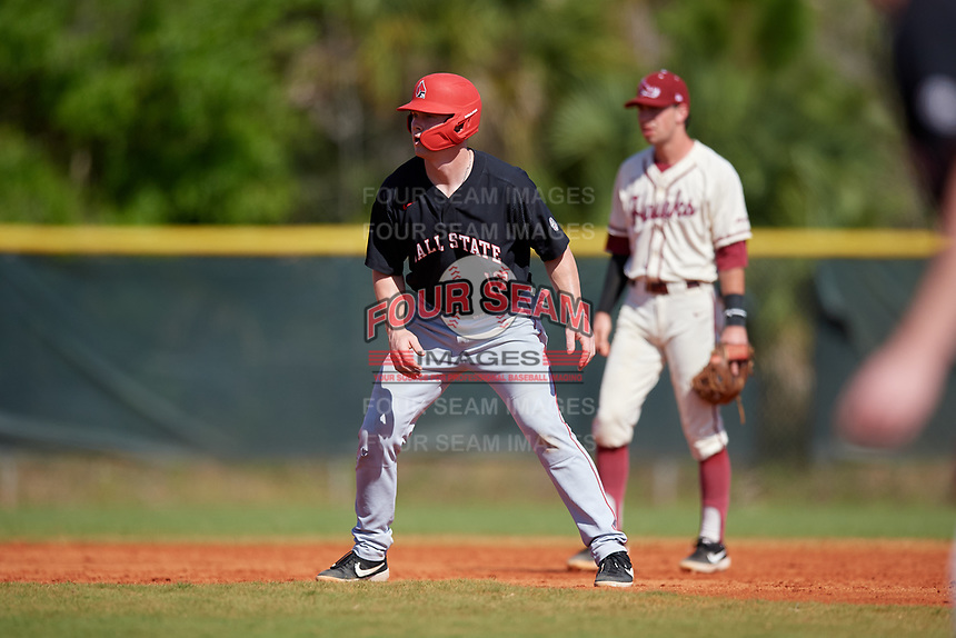 Ball State Cardinals first baseman Griffin Hulecki (13) leads off during a game against the Saint Joseph's Hawks on March 9, 2019 at North Charlotte Regional Park in Port Charlotte, Florida.  Ball State defeated Saint Joseph's 7-5.  (Mike Janes/Four Seam Images)