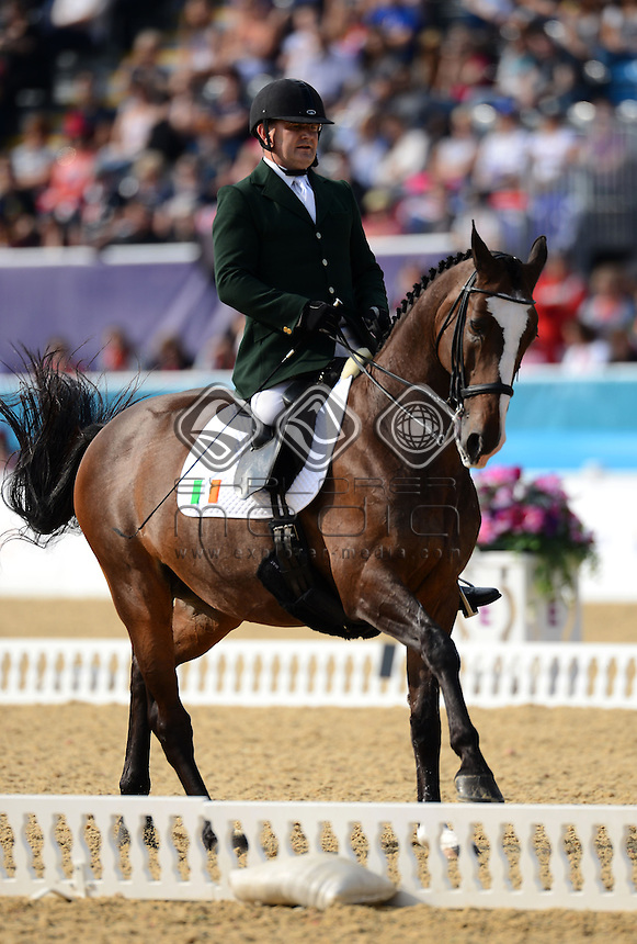 Jams Dwyer (IRL) rides Orlando in the Dressage Individual Freestyle Test - Grade IV<br /> Equestrian (Tuesday 4th Sept) - Greenwich Park<br /> Paralympics - Summer / London 2012 <br /> London, England 29 Aug - 9 Sept<br /> © Sport the library/Courtney Crow