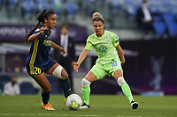 30th August 2020, San Sebastien, Spain;  Svenja Huth of VfL Wolfsburg and Sakina Karchaouie of Lyon in action during the UEFA Womens Champions League football match Final between VfL Wolfsburg and Olympique Lyonnais.