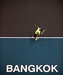 BANGKOK, THAILAND - OCTOBER 01:  Rafael Nadal of Spain serves against Mikhail Kukushkin of Kazakhstan during the Day 7 of the PTT Thailand Open at Impact Arena on October 1, 2010 in Bangkok, Thailand.  Photo by Victor Fraile / The Power of Sport Images