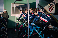 Team USA warming up for the Women's U23 race<br /> <br /> UCI 2019 Cyclocross World Championships<br /> Bogense / Denmark<br /> <br /> ©kramon