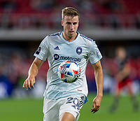 WASHINGTON, DC - MAY 13: Wyatt Omsberg #20 of Chicago Fire FC controls the ball during a game between Chicago Fire FC and D.C. United at Audi FIeld on May 13, 2021 in Washington, DC.