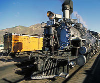 tourists boarding Durango & Silverton narrow gauge railroad excursion train. tourists. Durango Colorado USA.