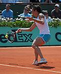 Kimiko Date-Krumm (JPN) loses at Roland Garros in Paris, France on May 29, 2012