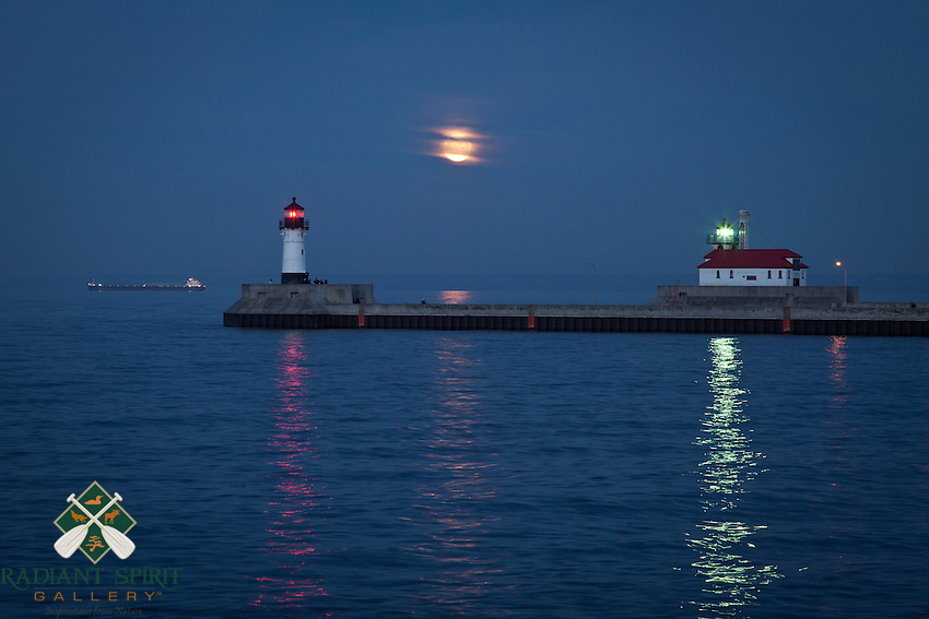 """""""Super Moon over Lake Superior""""<br /> It was a lovely evening to watch the rising super moon from Canal Park."""