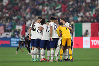LAS VEGAS, NV - AUGUST 1: United States huddle during a game between Mexico and USMNT at Allegiant Stadium on August 1, 2021 in Las Vegas, Nevada.