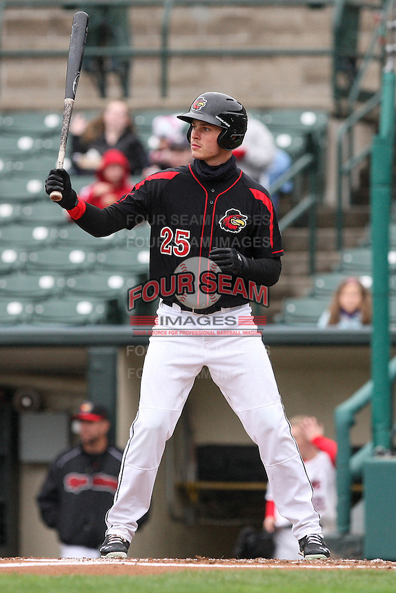 Rochester Red Wings center fielder Max Kepler (25) waits for the pitch against the Scranton Wilkes-Barre Railriders on May 1, 2016 at Frontier Field in Rochester, New York. Red Wings won 1-0.  (Christopher Cecere/Four Seam Images)