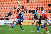 Blackpool's Grant Ward vies for possession with Swindon Town's Anthony Grant<br /> <br /> Photographer Kevin Barnes/CameraSport<br /> <br /> The EFL Sky Bet League One - Blackpool v Swindon Town - Saturday 19th September 2020 - Bloomfield Road - Blackpool<br /> <br /> World Copyright © 2020 CameraSport. All rights reserved. 43 Linden Ave. Countesthorpe. Leicester. England. LE8 5PG - Tel: +44 (0) 116 277 4147 - admin@camerasport.com - www.camerasport.com
