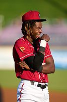 Altoona Curve Oneil Cruz (13) before a game against the Erie Seawolves on September 7, 2021 at Peoples Natural Gas Field in Altoona, Pennsylvania.  (Mike Janes/Four Seam Images)
