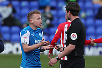 Peterborough United's Louis Reed questions the referee during Peterborough United vs Sunderland AFC, Sky Bet EFL League 1 Football at London Road on 5th April 2021