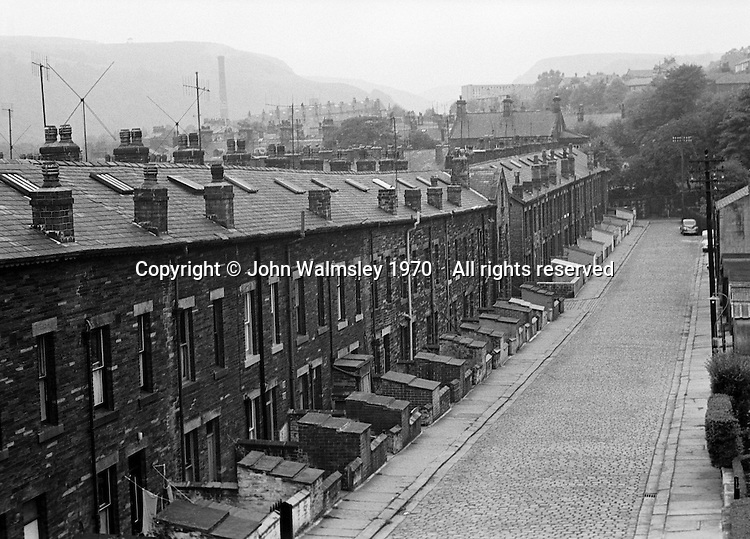 Terraced housing and cobbled streets, Todmorden, Lancashire.  1970.