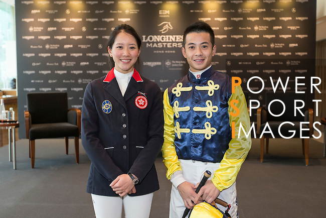 Jacqueline Lai, and Derek Leung Ka-chun, Masters riders pose for a photograph at Longines Hong Kong Masters official press conference at the Happy Valley Racetrack on February 02, 2016 in Hong Kong.  Photo by Victor Fraile / Power Sport Images
