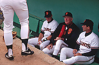 SCOTTSDALE, AZ - Manager Roger Craig of the San Francisco Giants sits in the dugout before a spring training game against the Chicago Cubs at Scottsdale Stadium in Scottsdale, Arizona in 1991. (Photo by Brad Mangin)