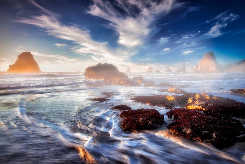 Coast with interesting clouds near sunset. Samuel H. Boardman State Scenic Corridor. Oregon