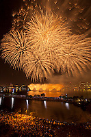 Fireworks on Charles River, July 4th, roof deck on Beacon St., Boston, MA