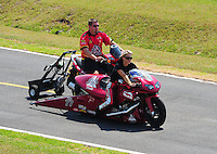 Apr. 29, 2011; Baytown, TX, USA: NHRA pro stock motorcycle rider Angie Smith during qualifying for the Spring Nationals at Royal Purple Raceway. Mandatory Credit: Mark J. Rebilas-