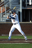 Chas McCormick (6) of the Buies Creek Astros at bat against the Frederick Keys at Jim Perry Stadium on April 28, 2018 in Buies Creek, North Carolina. The Astros defeated the Keys 9-4.  (Brian Westerholt/Four Seam Images)