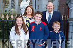 Luke Passway 6th class student in Derryquay NS receiving his Confirmation in St John's Church on Saturday. L to r: Chloe, Dylan, Irene and Steve Passway.