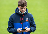 Bolton Wanderers' Andrew Tutte checks his phone before the match<br /> <br /> Photographer Andrew Kearns/CameraSport<br /> <br /> The EFL Sky Bet League Two - Stevenage v Bolton Wanderers - Saturday 21st November 2020 - Lamex Stadium - Stevenage<br /> <br /> World Copyright © 2020 CameraSport. All rights reserved. 43 Linden Ave. Countesthorpe. Leicester. England. LE8 5PG - Tel: +44 (0) 116 277 4147 - admin@camerasport.com - www.camerasport.com