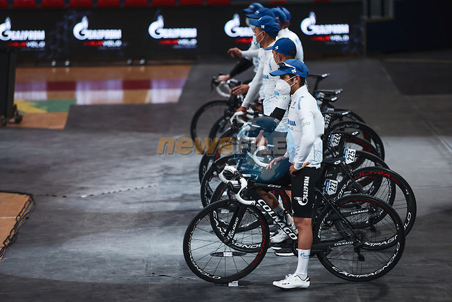 Gazprom-Rusvelo at the team presentation before the 2021 Flèche-Wallonne, running 193.6km from Charleroi to Huy, Belgium. 21st April 2021.  <br /> Picture: A.S.O./Aurélien Vialatte | Cyclefile<br /> <br /> All photos usage must carry mandatory copyright credit (© Cyclefile | A.S.O./Aurélien Vialatte)