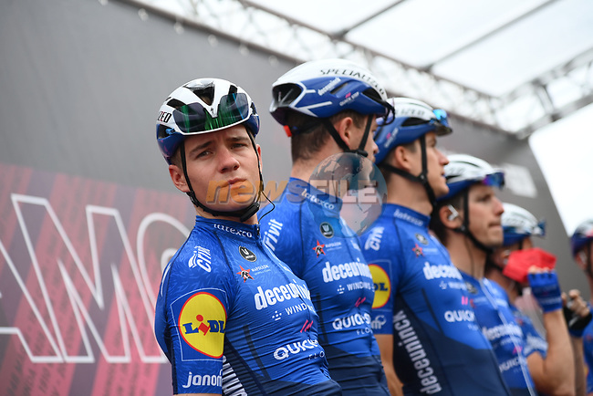 Remco Evenepoel (BEL) and Deceuninck-Quick Step at sign on before the start of Stage 14 of the 2021 Giro d'Italia, running 205km from Cittadella to Monte Zoncolan, Italy. 22nd May 2021.  <br /> Picture: LaPresse/Gian Mattia D'Alberto | Cyclefile<br /> <br /> All photos usage must carry mandatory copyright credit (© Cyclefile | LaPresse/Gian Mattia D'Alberto)