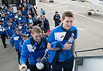 FK Trakai v St Johnstone…05.07.17… Europa League 1st Qualifying Round 2nd Leg<br />St Johnstone midfielders Blair Alston and David Wotherspoon board the aircraft for the flight to Vilnius in Lithuania<br />Picture by Graeme Hart.<br />Copyright Perthshire Picture Agency<br />Tel: 01738 623350  Mobile: 07990 594431