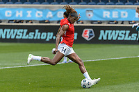 BRIDGEVIEW, IL - JUNE 5: Jessica McDonald #14 of the North Carolina Courage warms up before a game between North Carolina Courage and Chicago Red Stars at SeatGeek Stadium on June 5, 2021 in Bridgeview, Illinois.