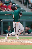 Nick Gonzales (2) of the Greensboro Grasshoppers in a game against the Greenville Drive on Thursday, July 22, 2021, at Fluor Field at the West End in Greenville, South Carolina. (Tom Priddy/Four Seam Images)