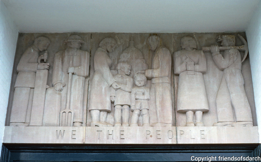 "Greenbelt:  Elementary School--detail.  ""WPA-Moderne""  bas relief."