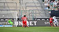 23rd May 2020, BORUSSIA-PARK, North Rhine-Westphalia, Germany; Bundesliga football, Borussia Moenchengladbach versus Bayer Leverkusen;Goal scored for 1-1 from Marcus Thuram (BMG) past keeper Lucas Hradecky (Leverkusen)