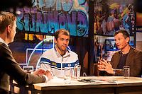 Rotterdam, The Netherlands, Februari 8, 2016,  ABNAMROWTT, RTV Rijnmond, Gilles Muller (LUX) Richard Krajicek (NED)<br /> Photo: Tennisimages/Henk Koster