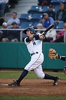 Joe Venturino (14) of the Everett AquaSox bats against the Boise Hawks at Everett Memorial Stadium on July 20, 2017 in Everett, Washington. Everett defeated Boise, 13-11. (Larry Goren/Four Seam Images)