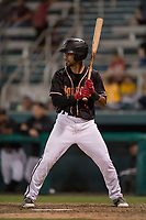 Modesto Nuts second baseman Kevin Santa (4) during a California League game against the Lake Elsinore Storm at John Thurman Field on May 11, 2018 in Modesto, California. Modesto defeated Lake Elsinore 3-1. (Zachary Lucy/Four Seam Images)
