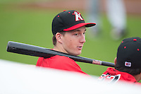 Toby Thomas (5) of the Kannapolis Intimidators during the game against the Hickory Crawdads at CMC-Northeast Stadium on April 17, 2015 in Kannapolis, North Carolina.  The Crawdads defeated the Intimidators 9-5 in game one of a double-header.  (Brian Westerholt/Four Seam Images)