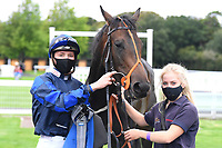 Winner of The Irish Stallion Farms EBF Fillies' Nursery Stakes Rania (8) ridden by Jason Watson and trained by Sylvester Kirk in the Winners enclosure during Horse Racing at Salisbury Racecourse on 11th September 2020