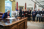 United States President Donald J. Trump speaks during an event commemorating the repatriation of Native American remains and artifacts from the Republic of Finland in the Oval Office of the White House on Thursday, Sept. 17, 2020, Washington, DC.<br /> Credit: Oliver Contreras / Pool via CNP