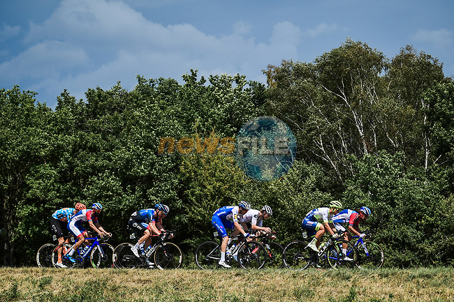 The breakaway group with Jérôme Cousin and Geoffrey Soupe (FRA) Total Direct Energie, Bruno Armirail (FRA) Groupama-FDJ, Kasper Asgreen (DEN) Deceuninck-Quick Step, Jasha Sütterlin (GER) Team Sunweb, Ben O'Connor (AUS) NTT Pro Cycling, Michael Schär (SUI) CCC Team and Fabien Doubey (FRA) Circus-Wanty Gobert during Stage 2 of Criterium du Dauphine 2020, running 135km from Vienne to Col de Porte, France. 13th August 2020.<br /> Picture: ASO/Alex Broadway | Cyclefile<br /> All photos usage must carry mandatory copyright credit (© Cyclefile | ASO/Alex Broadway)
