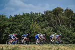 The breakaway group with Jérôme Cousin and Geoffrey Soupe (FRA) Total Direct Energie, Bruno Armirail (FRA) Groupama-FDJ, Kasper Asgreen (DEN) Deceuninck-Quick Step, Jasha Sütterlin (GER) Team Sunweb, Ben O'Connor (AUS) NTT Pro Cycling, Michael Schär (SUI) CCC Team and Fabien Doubey (FRA) Circus-Wanty Gobert during Stage 2 of Criterium du Dauphine 2020, running 135km from Vienne to Col de Porte, France. 13th August 2020.<br /> Picture: ASO/Alex Broadway   Cyclefile<br /> All photos usage must carry mandatory copyright credit (© Cyclefile   ASO/Alex Broadway)