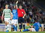 St Johnstone v Celtic...13.08.14  SPFL<br /> Stefan Johansen is booked by ref John Beaton for his foul on Tom Scobbie<br /> Picture by Graeme Hart.<br /> Copyright Perthshire Picture Agency<br /> Tel: 01738 623350  Mobile: 07990 594431