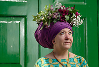 BNPS.co.uk (01202 558833)<br /> Pic: ZacharyCulpin/BNPS<br /> <br /> Pictured: Heidi Cutts shows off one of the spectacular flower crowns created as part of Garden Day<br /> <br /> Londoners celebrate Garden Day by making flower crowns in the gardens of St George the Martyr church in Southwark.  <br /> <br /> Garden Day is back for a third successive year on Sunday, 9th May 2021 to celebrate outdoor and indoor garden spaces. The nationwide movement is called on plant-lovers to make a flower crown, and share their plant spaces with family and<br /> friends
