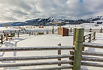 Yellowstone National Park, WY: Corral fence line and wood shed at the Lamar Buffalo Ranch in Lamar Valley in winter