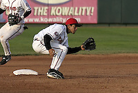 April 21, 2004:  Carlos Rojas of the Lansing Lugnuts, Low-A Midwest League affiliate of the Chicago Cubs, during a game at Oldsmobile Park in Lansing, MI.  Photo by:  Mike Janes/Four Seam Images