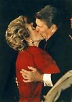 President and Nancy Reagan Kiss,
