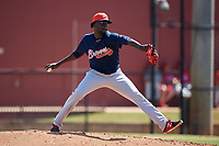Atlanta Braves pitcher Luis Mora (65) delivers a pitch during a Florida Instructional League game against the Philadelphia Phillies on October 5, 2018 at the Carpenter Complex in Clearwater, Florida.  (Mike Janes/Four Seam Images)