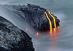 Lava flow enters ocean