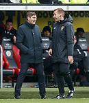 03.11.18 St Mirren v Rangers: Steven Gerrard and 4th official Steven Kirkland joking