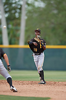 Pittsburgh Pirates shortstop Victor Ngoepe (19) throws to first base during a minor league Extended Spring Training intrasquad game on April 1, 2017 at Pirate City in Bradenton, Florida.  (Mike Janes/Four Seam Images)