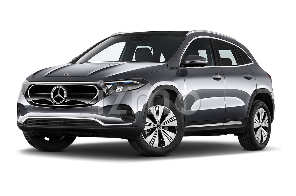Stock pictures of low aggressive front three quarter view of 2021 Mercedes Benz EQA 250-Business 5 Door SUV Low Aggressive