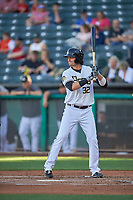 Jarrett Parker (32) of the Salt Lake Bees bats against the Round Rock Express at Smith's Ballpark on June 10, 2019 in Salt Lake City, Utah. The Bees defeated the Express 9-7. (Stephen Smith/Four Seam Images)