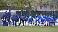 Gent team in a huddle before a female soccer game between  AA Gent Ladies and Oud Heverlee Leuven on the fourth matchday of play off 1 in the 2020 - 2021 season of Belgian Scooore Womens Super League , saturday 1 st of May 2021  in Oostakker , Belgium . PHOTO SPORTPIX.BE | SPP | STIJN AUDOOREN